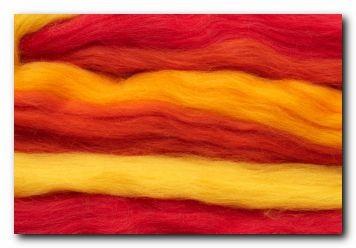 Mehrfarbiger Kammzug - rot/orange